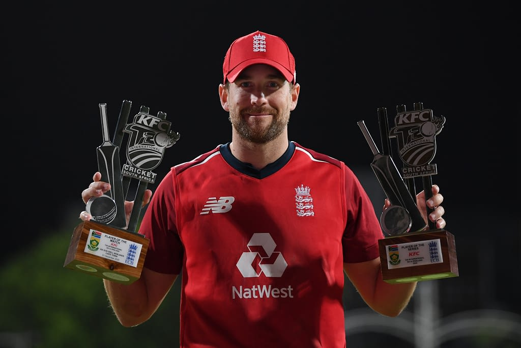 CAPE TOWN, SOUTH AFRICA - DECEMBER 01: Dawid Malan of England poses for a photo with his Player of the Match and Player of the Series awards at the end of the 3rd Twenty20 International between South Africa and England at Newlands Cricket Ground on December 01, 2020 in Cape Town, South Africa. (Photo by Shaun Botterill/Getty Images)