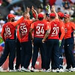 CENTURION, SOUTH AFRICA - FEBRUARY 16: Ben Stokes of England celebrates with his teammates after dismissing Quinton de Kock of South Africa during the Third T20 International match between South Africa and England at Supersport Park on February 16, 2020 in Centurion, South Africa. (Photo by Dan Mullan/Getty Images)
