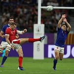 OITA, JAPAN - OCTOBER 20: Dan Biggar of Wales kicks the ball upfield during the Rugby World Cup 2019 Quarter Final match between Wales and France at Oita Stadium on October 20, 2019 in Oita, Japan. (Photo by David Rogers/Getty Images)