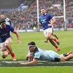 EDINBURGH, SCOTLAND - MARCH 08: Stuart McInally of Scotland touches down for the third try during the 2020 Guinness Six Nations match between Scotland and France at Murrayfield on March 08, 2020 in Edinburgh, Scotland. (Photo by Ian MacNicol/Getty Images)