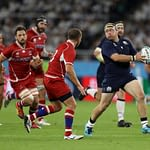 FUKUROI, JAPAN - OCTOBER 09: George Turner of Scotland throws the ball to set up a tryduring the Rugby World Cup 2019 Group A game between Scotland and Russia at Shizuoka Stadium Ecopa on October 09, 2019 in Fukuroi, Shizuoka, Japan. (Photo by Francois Nel - World Rugby/World Rugby via Getty Images)