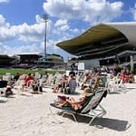 BRIDGETOWN, BARBADOS - JANUARY 23: Fans watch the cricket from the beach area during Day One of the First Test match between England and West Indies at Kensington Oval on January 23, 2019 in Bridgetown, Barbados. (Photo by Shaun Botterill/Getty Images)
