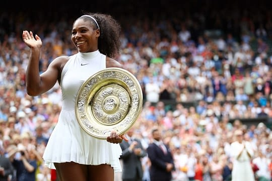 LONDON, ENGLAND - JULY 09: Serena Williams of The United States holds the trophy following victory in The Ladies Singles Final against Angelique Kerber of Germany on day twelve of the Wimbledon Lawn Tennis Championships at the All England Lawn Tennis and Croquet Club on July 9, 2016 in London, England. (Photo by Clive Brunskill/Getty Images)